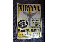 Nirvana original vintage gig poster. Rare! 1994 grunge punk