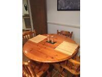 Oakwood wooden dining table with 4 chairs- extendable (4 to 6 seater)