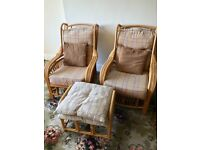 Conservatory / garden / cane chairs x 2 with foot stool