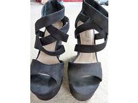 New look black suede heels (size 6)