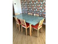 Calligaris glad extending dining table with 6 chairs, sold in John Lewis