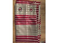 x2 pairs of red and cream striped curtains