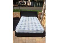 Brown leather double bed with mattress