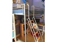 High sleeper full size single bed, inc mattress, good quality, sturdy metal frame