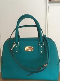 New Authentic Michael Kors Saffiano LARGE leather Satchel Bag- Teal Green