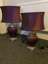 Stunning Set of 2 Purple Mosaic Table Lamps.