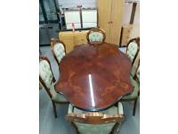 Italian Style Dining Table and Rococo Chairs