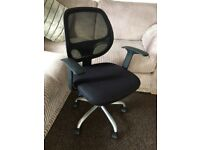 BLACK OFFICE SWIVEL CHAIR, HEIGHT ADJUSTABLE