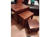 Set of 3 Solid Wood Nested Tables