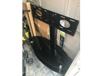 Black Glass TV Stand with wall style bracket