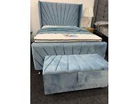 Blue plush velvet sunrise bed frame *BRAND NEW*