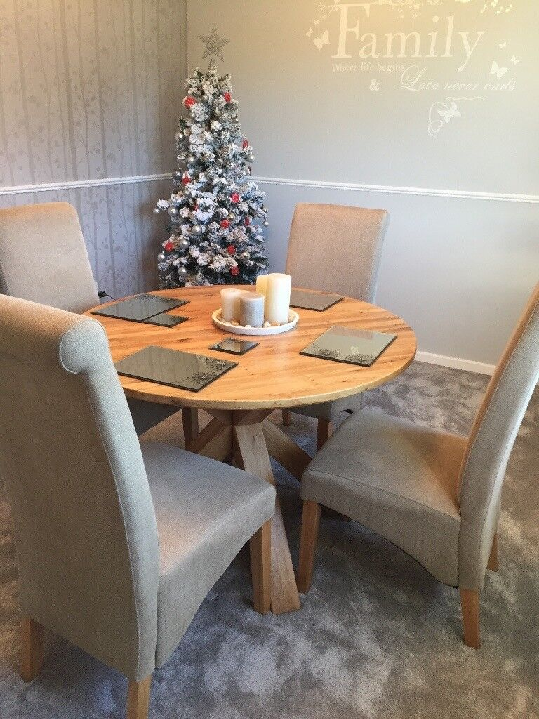 Solid Oak Round Dining Table And Chairs From Next Immaculate In