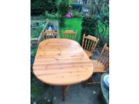 Pine drop leaf farmhouse style table and chairs