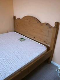 Oak Natural oak double bed Inc mattress with a matching set bedside tables