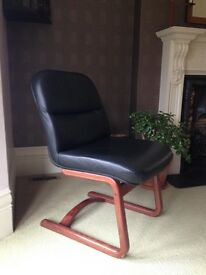 Black leather Retro dining chairs - set of 6