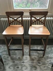 """Two Ikea Ingolf Bar Stools in antique stain 63"""" height (price for pair)"""
