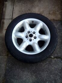 Car wheel 6 spoke alloy and tyre