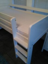 Bed, Mid Sleeper, Solid Wood, Painted White, 3ft Full Size Single inc. mattress. £75.