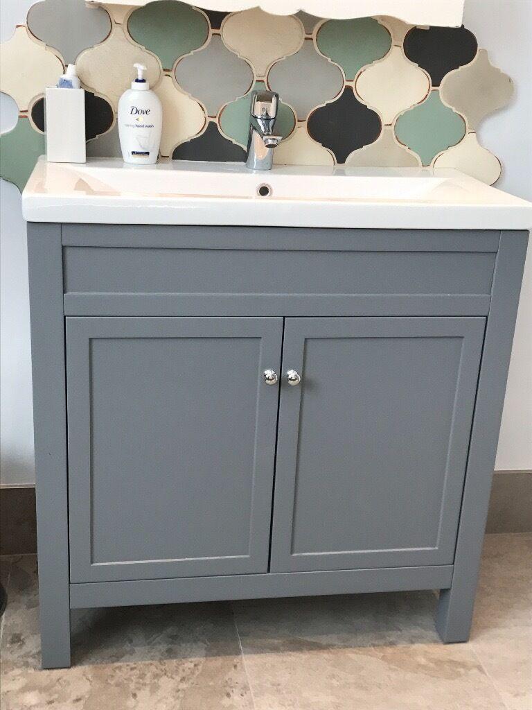 800mm Melbourne Earl Grey Double Door Basin Vanity Unit