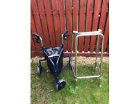 Days Steel Tri Wheel Walkers with Loop Lockable Brakes Blue and Walking Frame