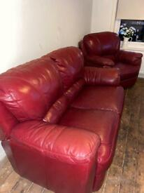 SET - x1 2 Seater Sofa and x 2 Matching Armchairs (burgundy/ red, real leather)