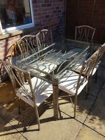 Metal Dining Table and 6 Chairs