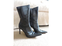 Italian 'Vero Cuoio' Ladies Leather High Heeled Boots EUR 37/UK 4