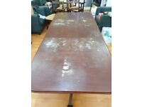 Large 6/8 seat extendable wooden dining table and 5 dining chairs