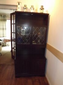 wooden dining cabinet with 2x glass and 2x wooden doors