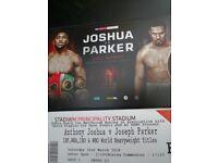 Anthony Joshua x 2 next to VIP block tickets Principality stadium tickets in hand Joshua vs Parker