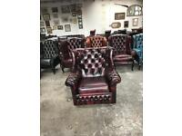 Fantastic vintage oxblood leather chesterfield spoon back chair UK delivery