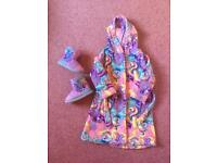 My little pony dressing gown Age 4-5 and slipper boots