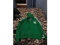 Four men's Adidas Originals zip hoodies large size - green, black, blue