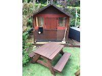 Playhouse - picnic bench / sand table - drawing easel - very good condition