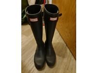 Hunter men original tall navy wellington boots size 9 uk