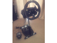 xbox one steering wheel, stand, pedals and gear stick.
