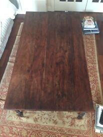 LAURA ASHLEY SOLID ROSEWOOD AND WROUGHT IRON COFFEE TABLE