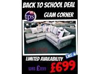 Velvet Corner Sofa NEW