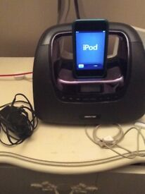 Apple IPod 4th Gen with case , dock/speakers/radio and charging cord