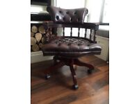 Chesterfield Captains Chair / Office Chair in Brown Leather