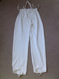 Boys whites, trampolining/gymnastics/acro pants/trousers with elastic stirrups & shoulder elastic