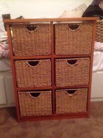 Wicker basket storage unit