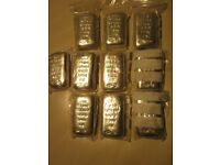 10 x 100gram Solid Silver Bullion Bar s Sheffield Hallmarked for 999 Purity Silver