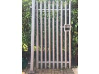 """Steel gate. 9"""". X. 4"""". With hanging post. Lock. Slide bar. Security. Gate"""