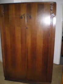 Wardrobe - solid oak, quality British built furniture Reduced to £50 - must go