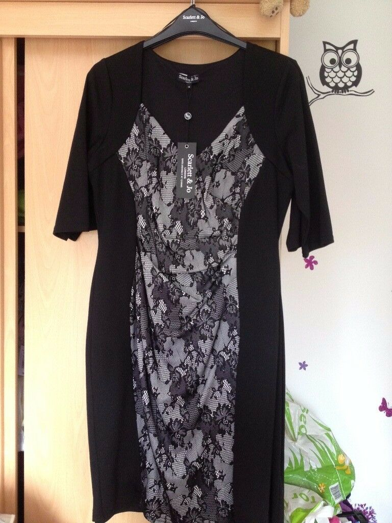Brand New Scarlet & Jo dress brand new black with lace panel size 18