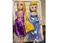 Walt Disney Plush Princess Dolls Cinderella & Rapunzel