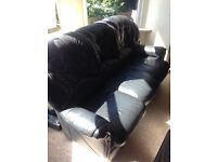 Three seater black leather sofa, good condition