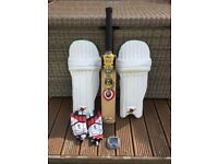 County Cyclone Bat, Centurian Pads, Kookaburra Gloves.