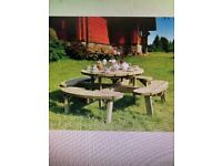 8 SEATER HEAVY DUTY ROUND PICNIC TABLE